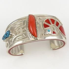 Coral and Turquoise Cuff by Michael Perry - Garland's Indian Jewelry. $2,700