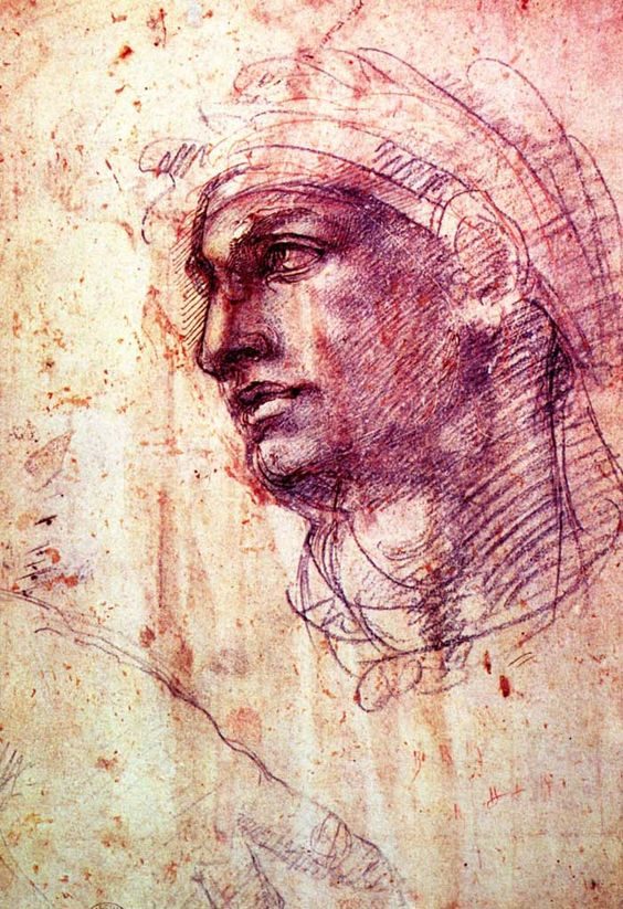 Michelangelo Buonarotti (Italian, 1475-1564) ~ Study of a Head (ca.1508-1510) ~ Red and black chalk with pen on metal point ~ British Museum, London. A preparatory drawing for the heads of the ignudi on the Sistine Ceiling.  AT