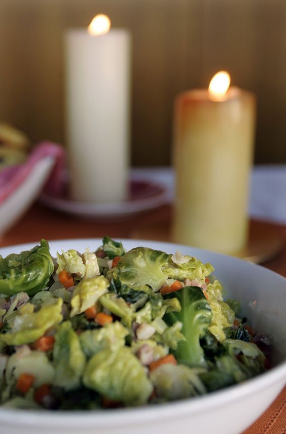 Another tried-and-true favorite, from Chez Panisse cookbook: Brussels sprout leaves cooked with pancetta and mirepoix