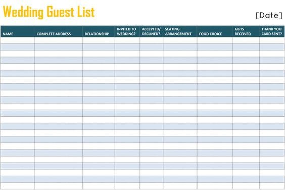 to free printable wedding guest list template for word and excel wedding guest list spreadsheet. Black Bedroom Furniture Sets. Home Design Ideas