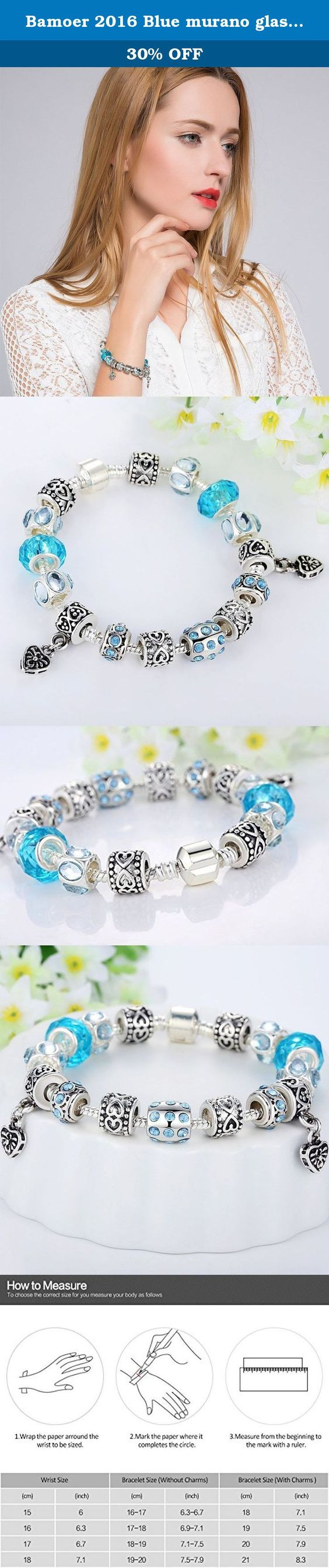 Bamoer 2016 Blue murano glass beads heart Charm Beaded Vintage Silver Plated Bracelet Fashion Jewelry Gifts for Women Girls 7.08 inches. Brand History: Bamoer is a vibrant, young, and modern brand. With over 4 Years of international trading Bamoer offer the hot sale items for our best customer and reasonable price This stunning bracelet by bisaer shines with blue crystals and glass beads. This jewelry piece features a snake chain and a barrel clasp. The blues will be the last thing on…