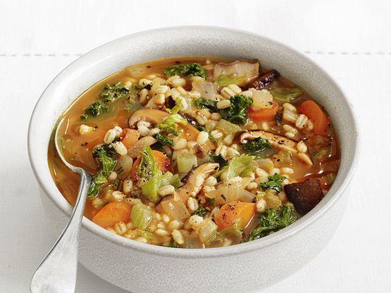 Carrot-Mushroom-Barley Stew: Soups Stews Chili, Barley Stew, Carrot Mushroom, Recipes Soups, Network Kitchens, Kitchens Food, Mushroom Barley, Food Network/Trisha, Soups Stews Chowders Chili