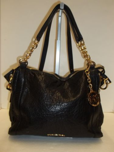 Michael Kors Black Leather Stanthorpe Gold Chain Strap