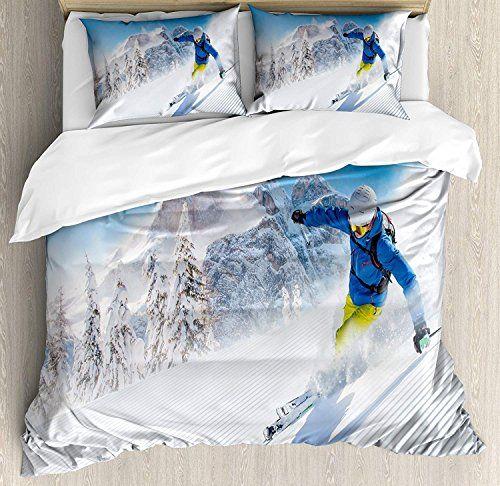 Winter Duvet Cover Set Luxury Soft Hotel Quality 4 Piece Twin Plush Microfiber Bedding Sets Skier Skiing Do Duvet Cover Sets Bedding Set Decorative Bedspread