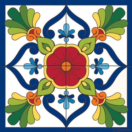 Tile Mural Blue Talavera Design Tile Art Painting Tile Tile Murals