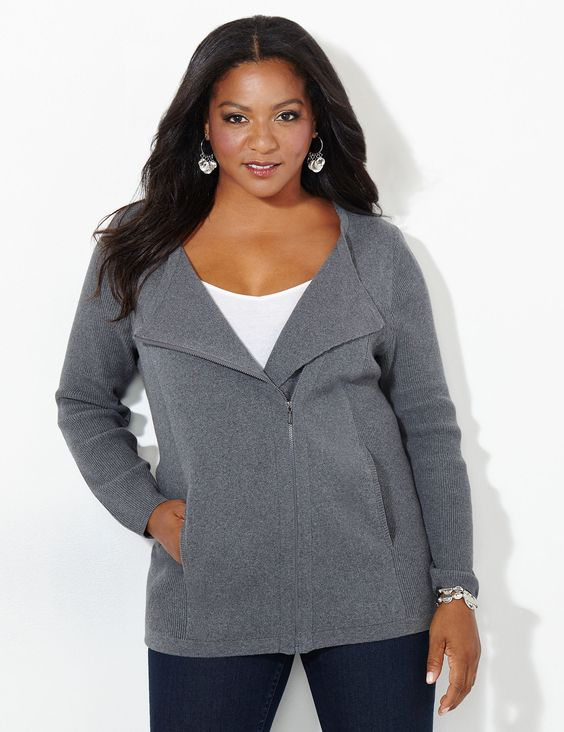 Knit Moto Cardigan | Catherines Get the styling of a moto jacket with the comfort of your favorite knit sweater with our new cardigan. The asymmetrical zip closure creates a relaxed, collared look. Complete with ribbed sides and arms for a look that is designed to fit you beautifully. Front pockets. Catherines tops are perfectly proportioned for the plus size woman. #catherines #plussize #plussizefashion #fallfashion #motojacket