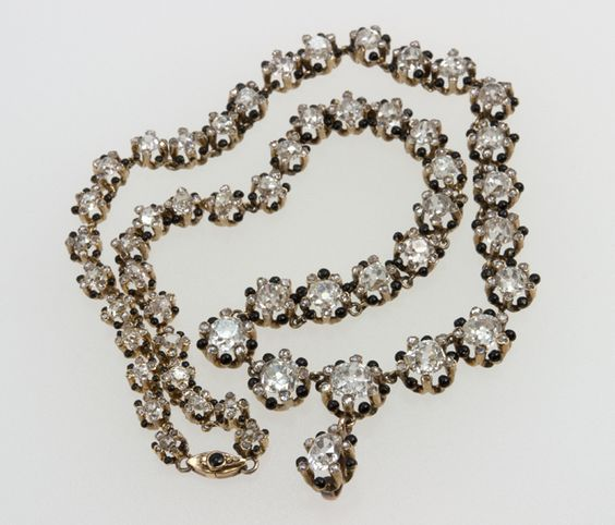 Victorian Cushion Cut Diamond Necklace | From a unique collection of vintage choker necklaces at http://www.1stdibs.com/jewelry/necklaces/choker-necklaces/