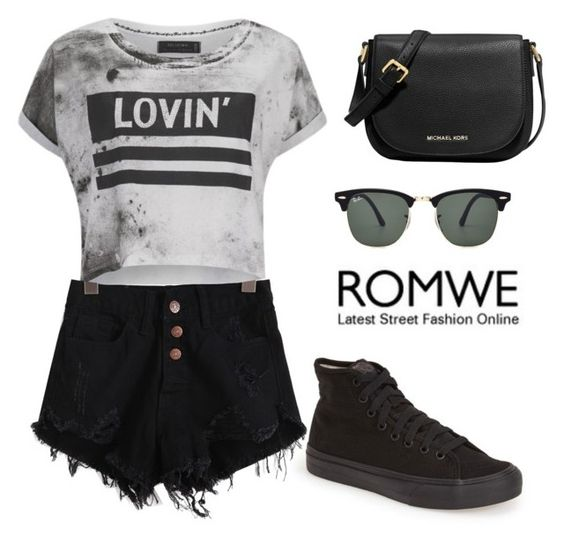 """ROMWE denim black shorts"" by tania-alves ❤ liked on Polyvore"