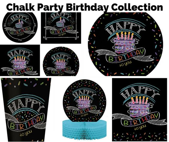 Chalk Party Birthday Banner