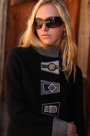 Icelandic Design Audrey Jacket- Black. I love the stacked fabric. Could do this with my wools.