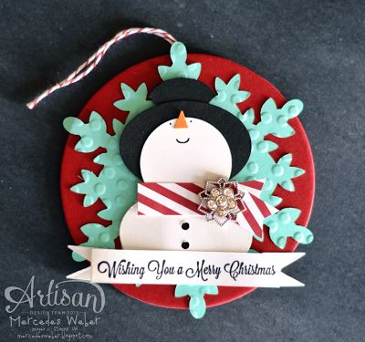 Stampin' Up! Christmas Punch Art Snowman by Creations by Mercedes: Cami's Creation: Christmas Cards, Stampin Up Christmas Tag, Cards Christmas, Cards Tags, Christmas Tags, Stampin Up Christmas Ornament