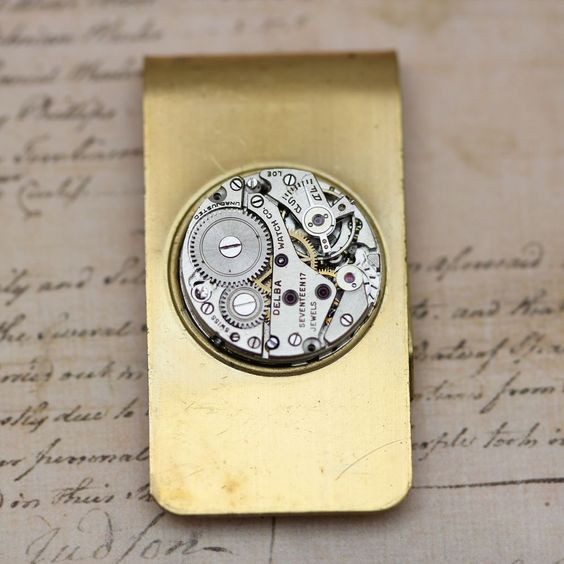 Money Clip Gift For Him Father Groom Rustic Steampunk For Dad #Handmade