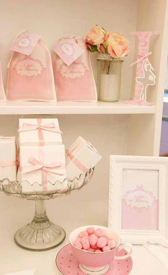 PINK DAMASK BALLERINA Printable Party Welcome by GreenBeansieInk, $10.00