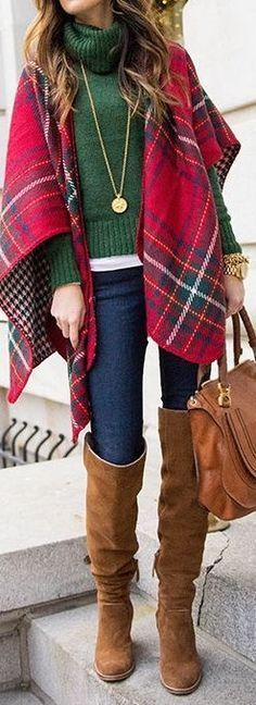 brown boots, jeans, plaid blanket scarf, green sweater, winter outfit