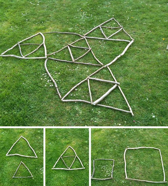 How many triangles can you make with 9 sticks? Kids can reinforce geometry and critical thinking skills through creating various shapes with sticks. Families Gloucestershire http://www.familiesonline.co.uk/LOCATIONS/Gloucestershire#.UutlEvl_uuI