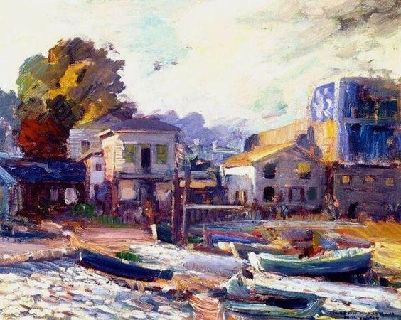 Joseph Kleitsch(1882ー1931 Hungarian-American)「Fish Market, Monterey」(1923-24)