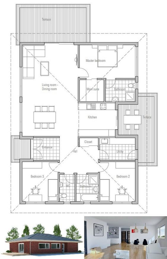 House plan affordable home floor plan from concepthome for Affordable one story house plans