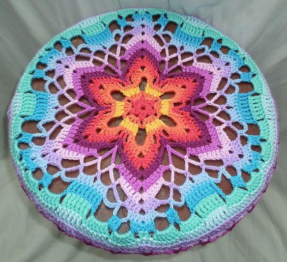 Stool cover made using the free Starflower Mandala by ...
