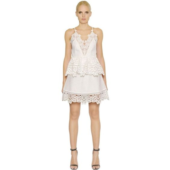 Self-portrait Women Peplum Dress With Lace Trim ($475) ❤ liked on Polyvore featuring dresses, white, lace trim dress, panel dress, peplum dress, white peplum dress and spaghetti strap dress