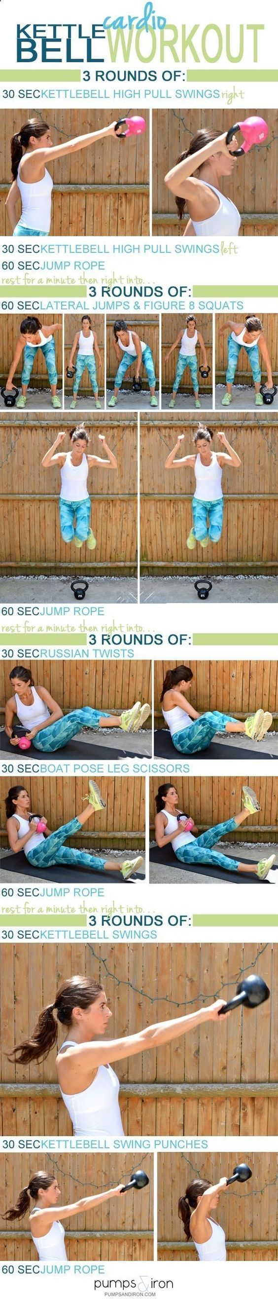 Kettlebell Cardio Workout -- takes 30 minutes and youll need a heavy and lighter kettlebell and jump rope   Posed By: AdvancedWeightLossTips.com #Cardioworkouts #KettlebellArmWorkout #cardioworkoutjumprope