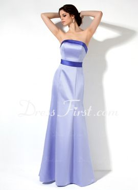 Sheath Strapless Floor-Length Satin Bridesmaid Dress With Sash (007001781)
