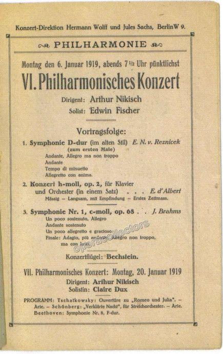 Fischer, Edwin - Nikisch, Arthur - Concert Program 1919 Products - concert program