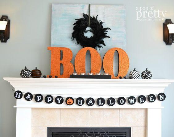 Adecuado para los niños Ideas de decoración de Halloween - Boo de Mantel