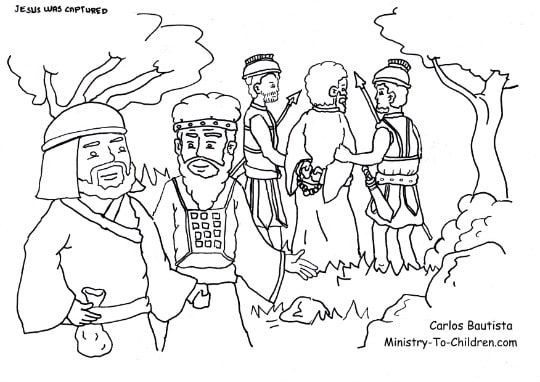 Judas Betrays Jesus Coloring Page Jesus Coloring Pages