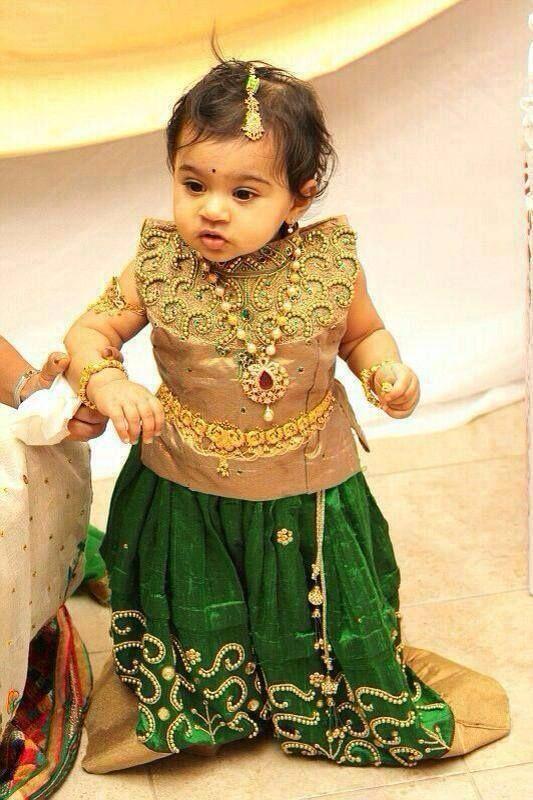 Kanchi Pattu Langa Blouse Designs For Baby Cute Look For A Baby Pattuforkids Weddingwearforkid Dresses Kids Girl Kids Dress Kids Party Wear Dresses