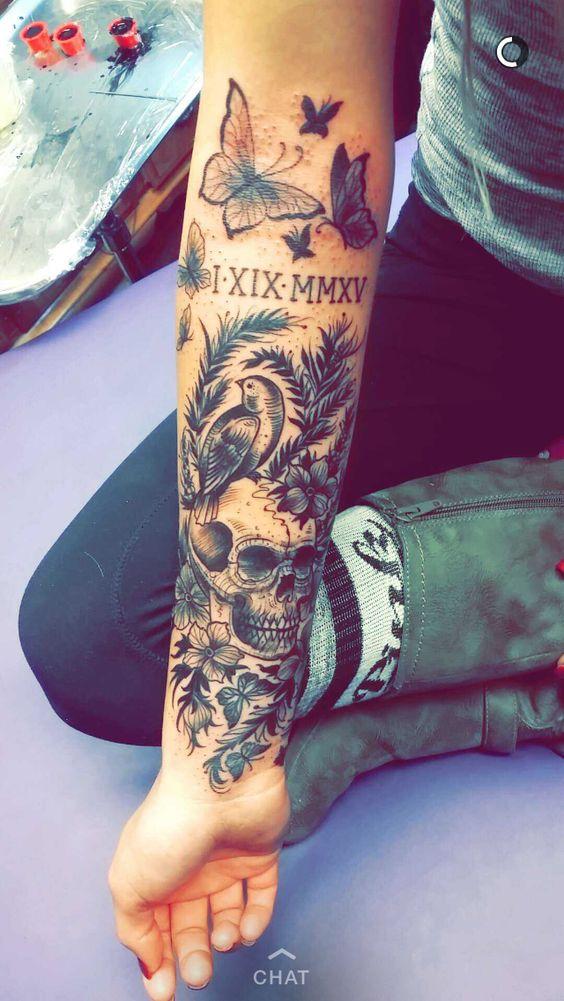 Tattoo sleeve black grey flowers skull bird girly for Girly arm sleeve tattoos