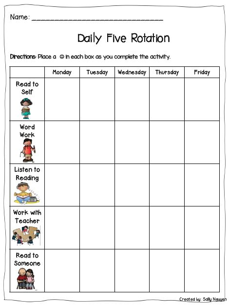Daily Five Student Recording Sheet