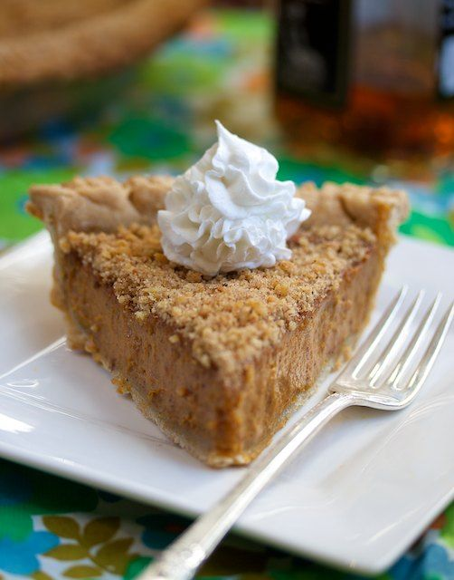 Bourbon pumpkin pie w/ walnut crumble.