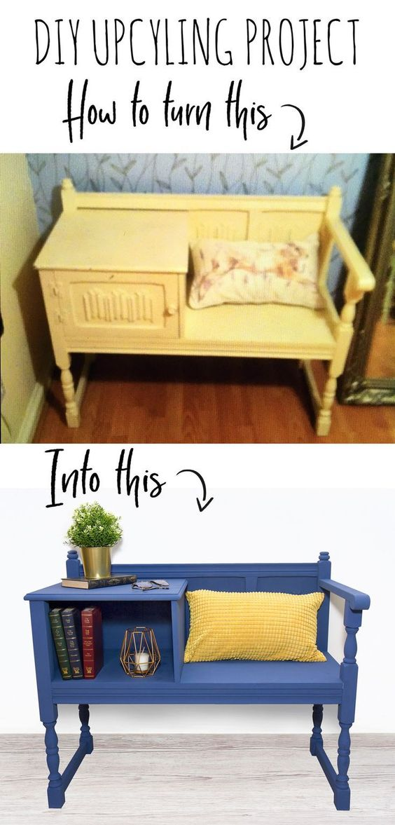 Upcycled Telephone Table Reading Bench Doodle And Stitch Upcycled Furniture Diy Diy Furniture Chair Furniture Diy