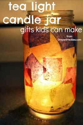 Crayon Freckles: tissue paper candle jar {gifts kids can make}