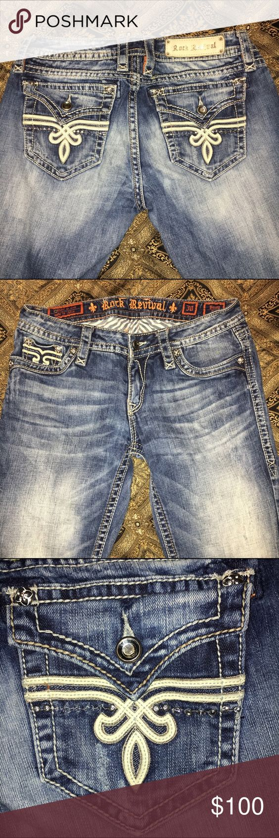 Penny bootcut rock revival jeans. Bling detailed pockets, some rhinestones are missing it's barely noticeable. {Selling for a friend, this is not my size, please don't ask for me to model them} Rock Revival Jeans Boot Cut