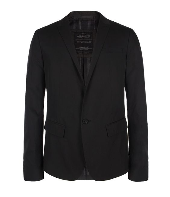 Resident Jacket>>  Shorter length, single breasted, black tailored jacket with very narrow peak lapels, working cuffs and AllSaints branded real horn buttons. The Resident Jacket has been made using a fine Italian silk / cotton blend and has been lined using a vintage inspired cotton stripe – developed exclusively by AllSaints