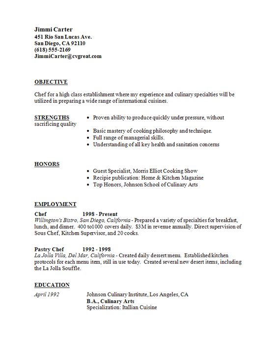Sous Chef Resume Example - sample resume for a chef