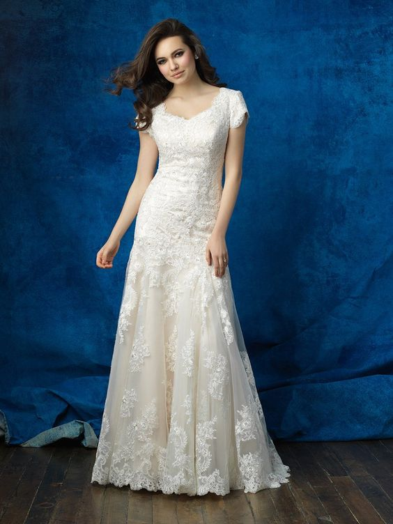 Allure Modest M562 Cap Sleeve Lace Fit & Flare Wedding Dress