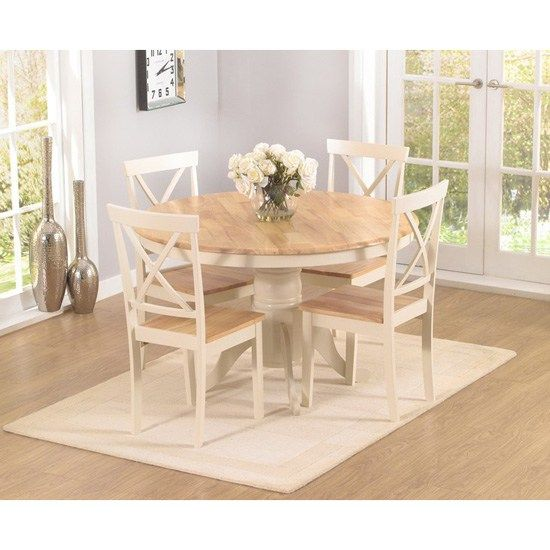 Ashley Oak Cream Dining Table 4 Chairs A Beautiful Blend Of Style And Functiona Round Pedestal Dining Shabby