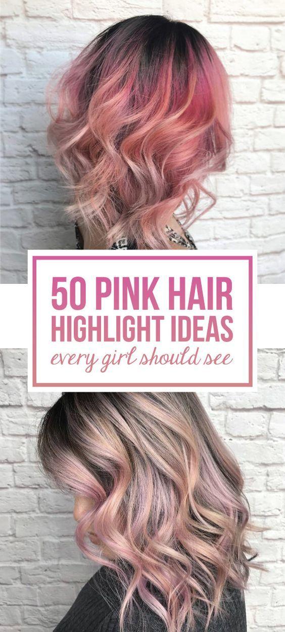 50 Pink Hair Highlight Ideas Every Girl Should See Pink Hair Highlights Blonde Hair With Pink Highlights Hair Highlights