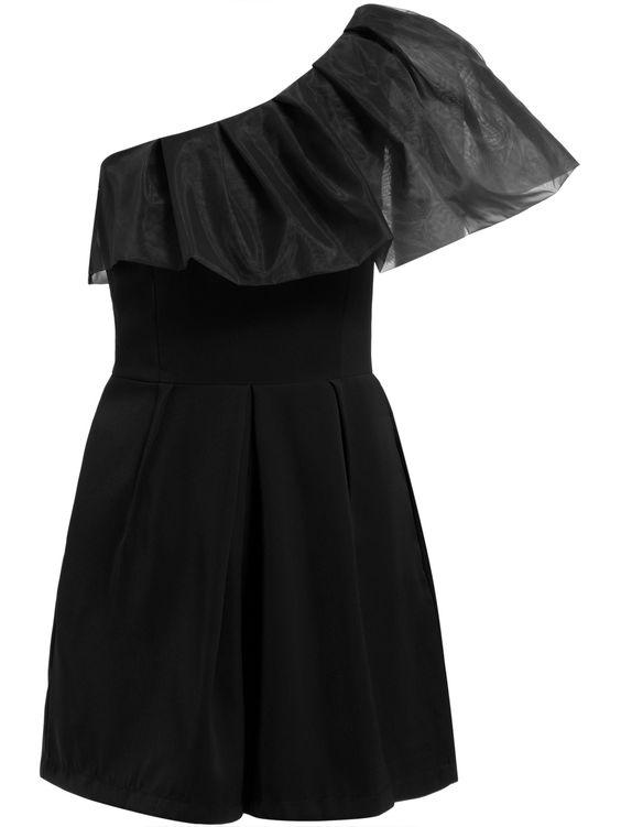 One-shoulder Ruffle Black Jumpsuit