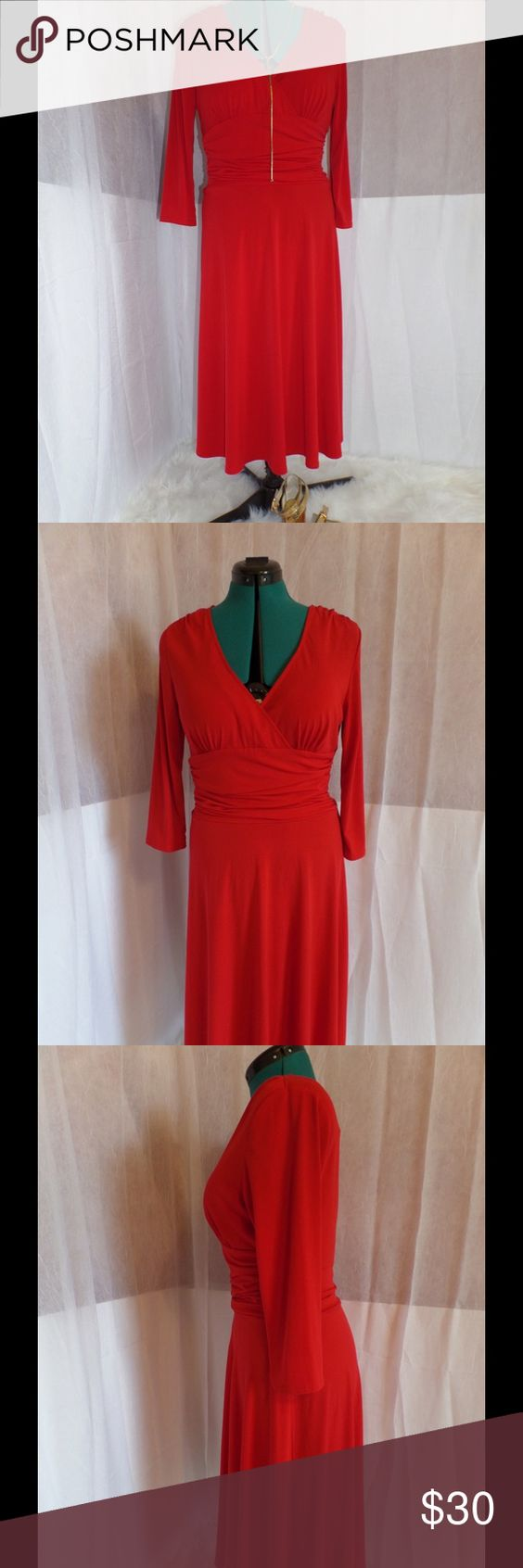 Alan Paige New York Red Faux Wrap Dress HOT red faux wrap dress by Alyn Paige. Lightly worn with no tears, marks, or stains. Like new. Silky stretchy fabric that looks amazing on anywhere from size 8 to size 12. Three-quarter sleeves to keep things classy. Can be worn dressed up for a night of dancing or down with a denim vest and sandals. Be the lady in red.... Alyn Paige Dresses