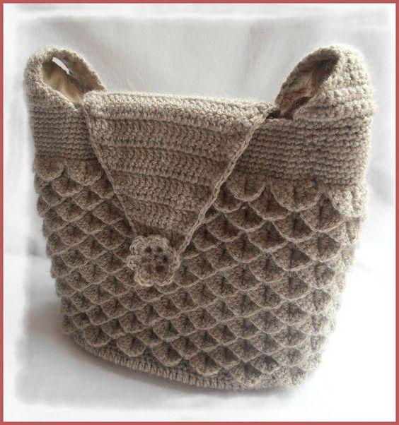 sac au point de crocodile au crochet crochet accessories handbags pinterest crocodile. Black Bedroom Furniture Sets. Home Design Ideas