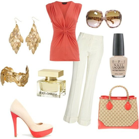 Coral, ivory and a matching Gucci bag-yes please!