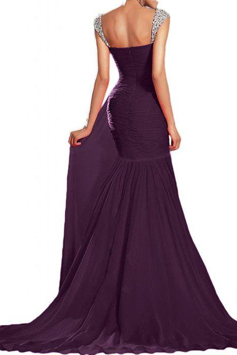 Gorgeous Bride Beliebt Lang Herzform Meerjungfrau Chiffon Kirstall Abendkleid Festkleid Ballkleid -36 Grape