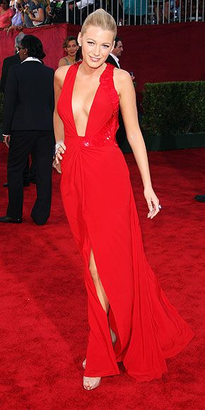 Blake Lively&39s Versache low cut red dress.  My Style if I wasn&39t ...