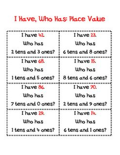 I Have Who Has... Place Value.  Love this game!  I've been in a bind and needed a time filler activity while subbing and I've pulled used this in different variations and it's always a hit!  Love it!