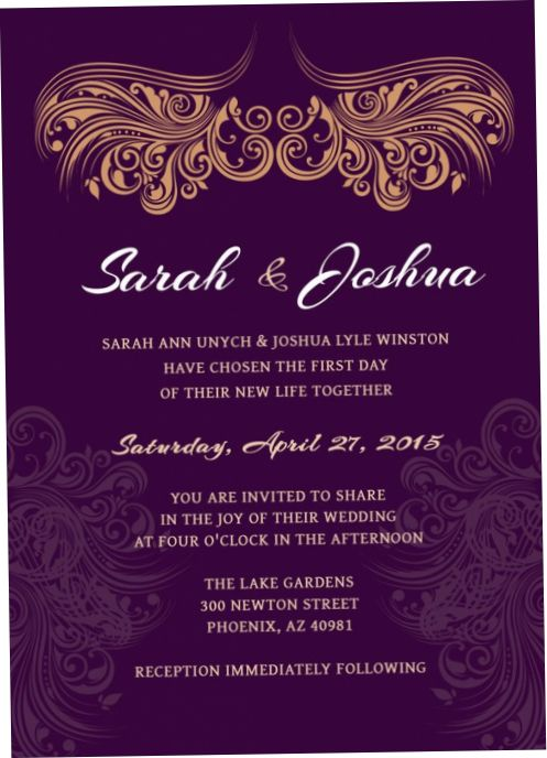 Purple And Gold Wedding Invitations Purple And Gold Wedding