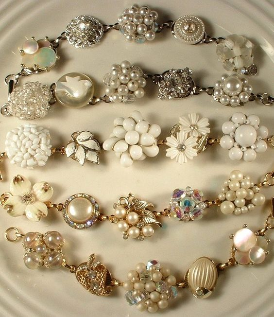 How to make a bracelet with vintage costume jewelry and bracelet blanks.