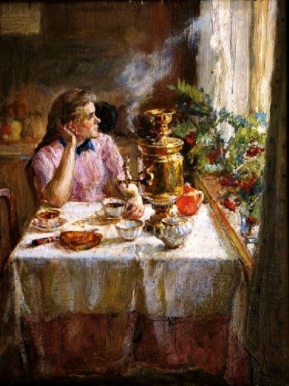 *Painting with samovar*: